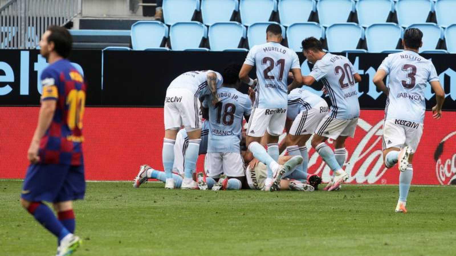 El Celta celebra el gol de Aspas que puso el 2-2 definitivo en el marcador.