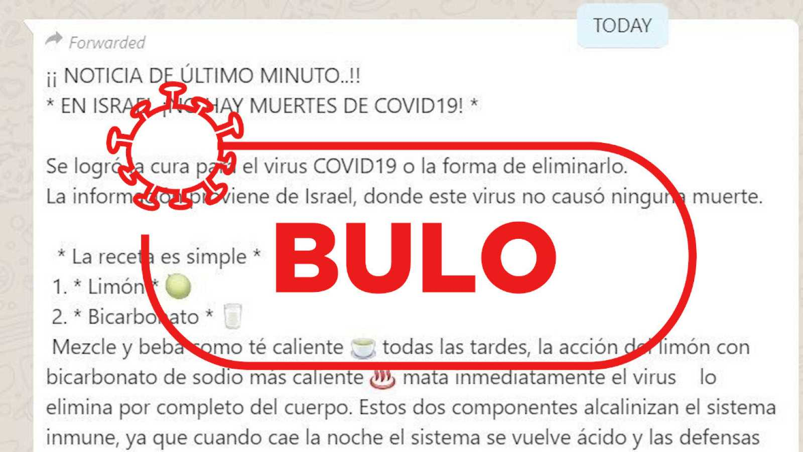 Detalle de la captura del bulo que circula por whatsapp con la supuesta receta casera contra el coronavirus.