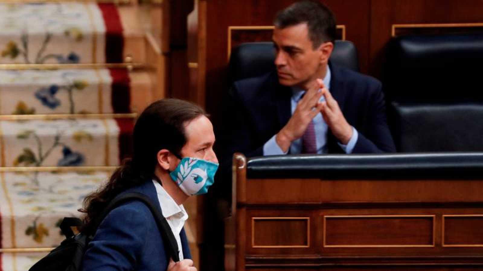 El vicepresidente segundo, Pablo Iglesias, con mascarilla