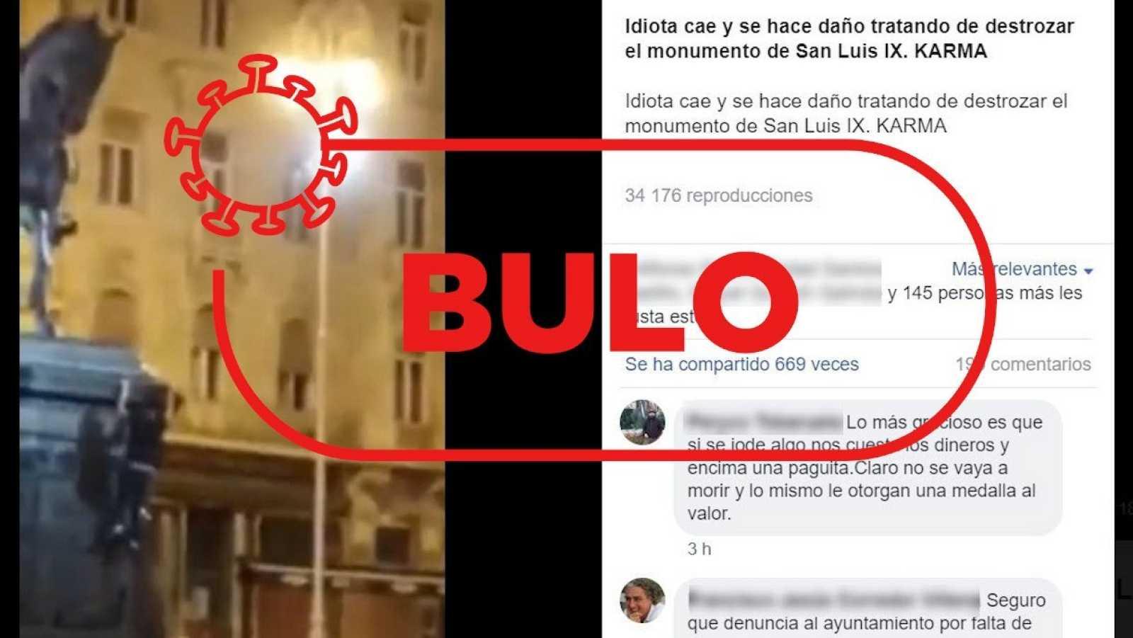 Detalle de la captura del bulo con el vídeo del joven cayendo de la estatua y el sello de RTVE Verifica.