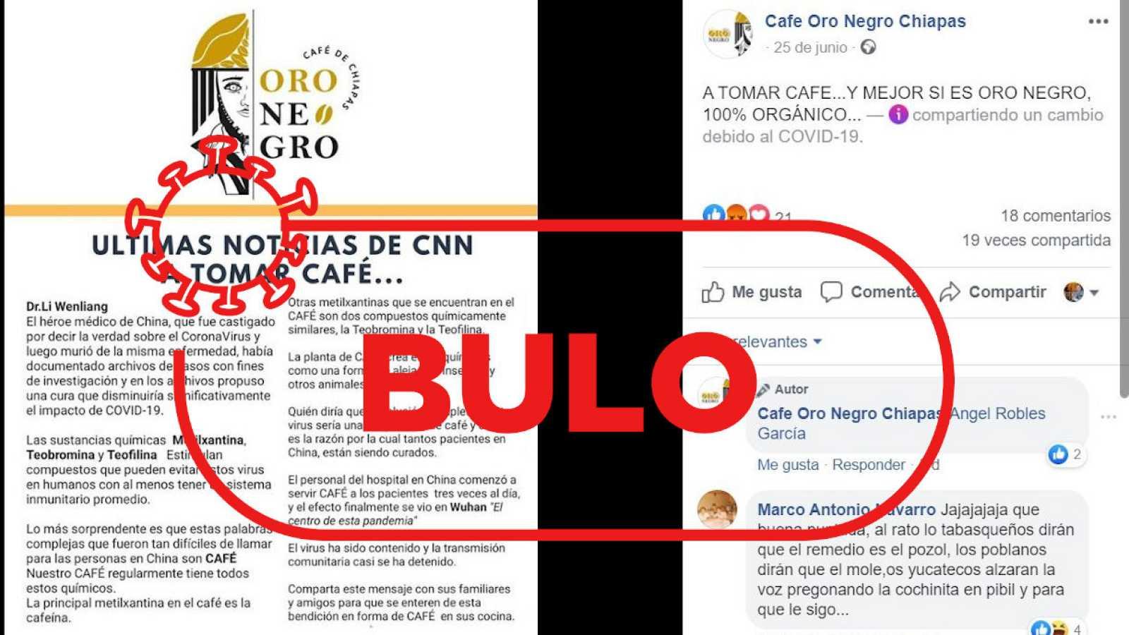 Captura de la publicación en la página de Facebook con el bulo sobre el café y el sello de Verifica RTVE.