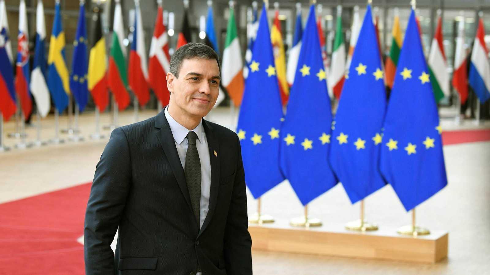 El presidente del Gobierno, Pedro Sánchez, durante un encuentro en Bruselas con los líderes europeos el pasado mes de febrero