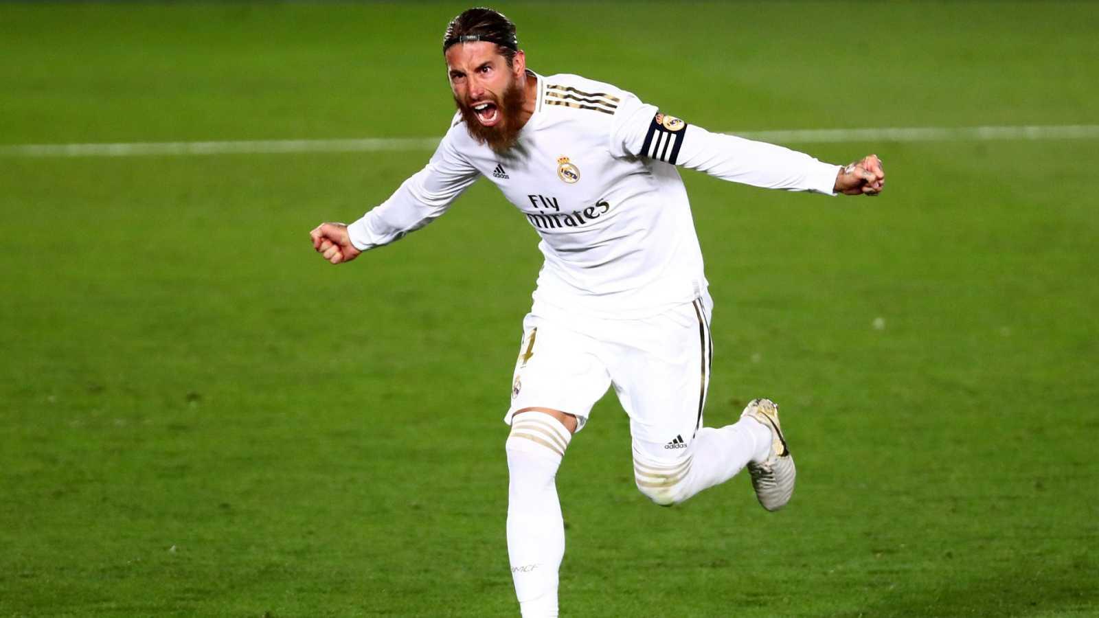 Sergio Ramos celebra el gol de la victoria ante el Getafe