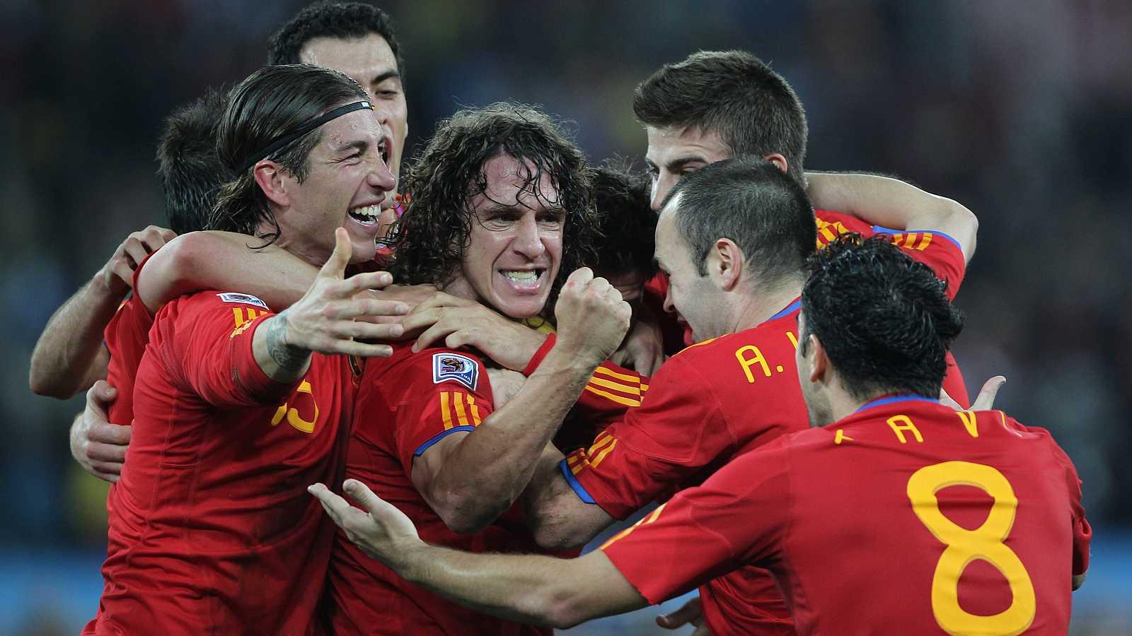 Celebración gol Puyol