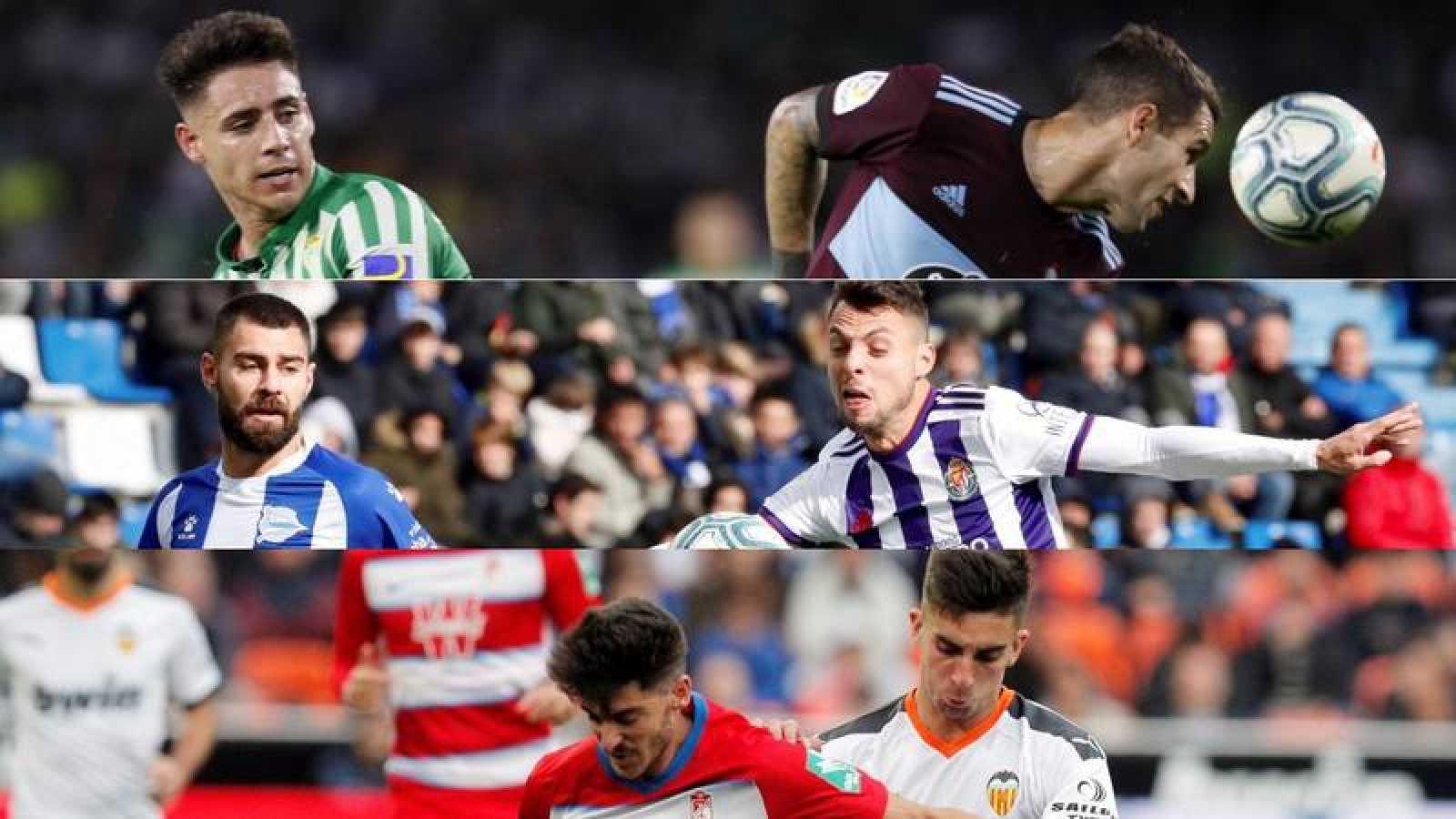 Montaje con imágenes de los partidos Betis-Celta, Alavés-Valladolid y Valencia-Granada.