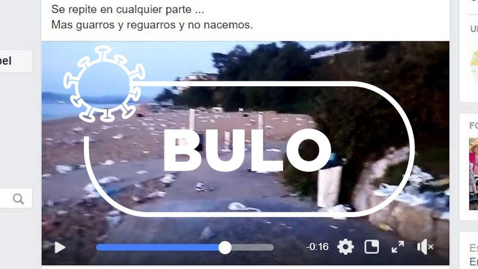 Captura del vídeo con el bulo sobre la basura y las mascarillas en la playa cántabra de Los Peligros con el sello de Verifica RTVE.