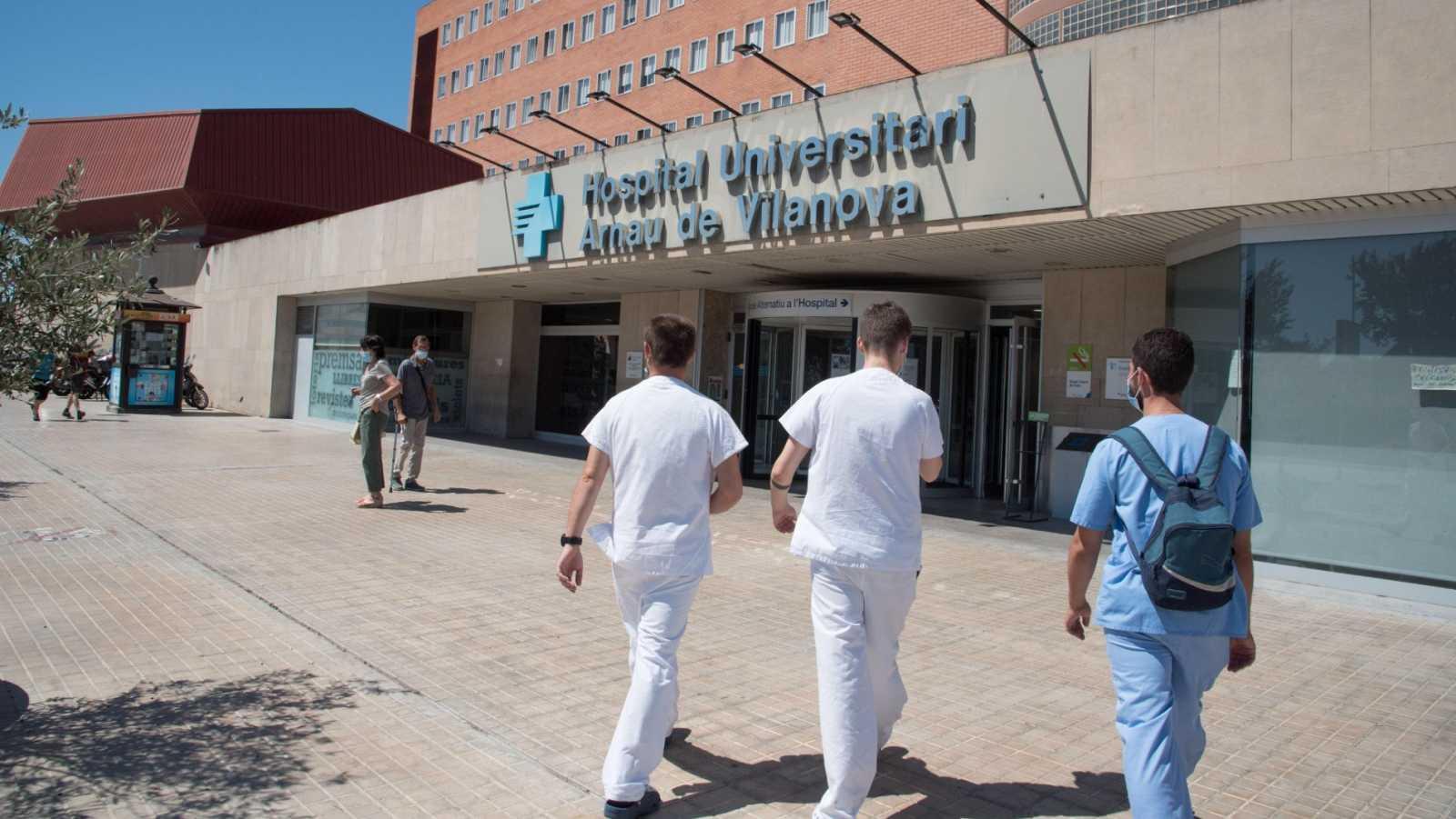 Vista de la entrada del Hospital Arnau de Vilanova de Lleida