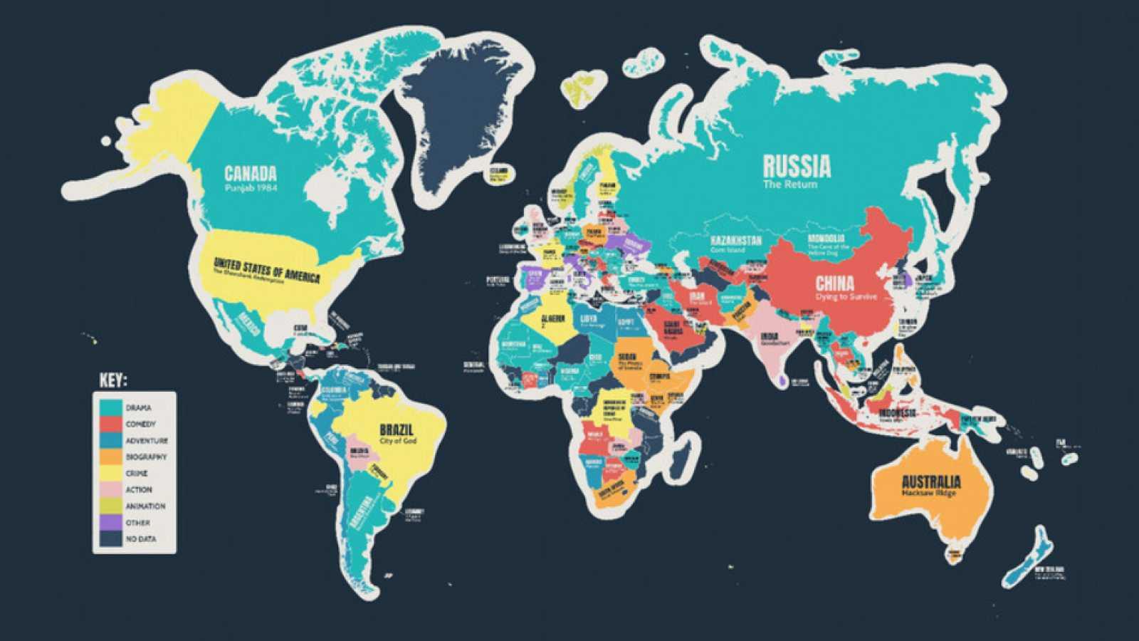 Así es el mapa que permite conocer la película mejor valorada en cada país