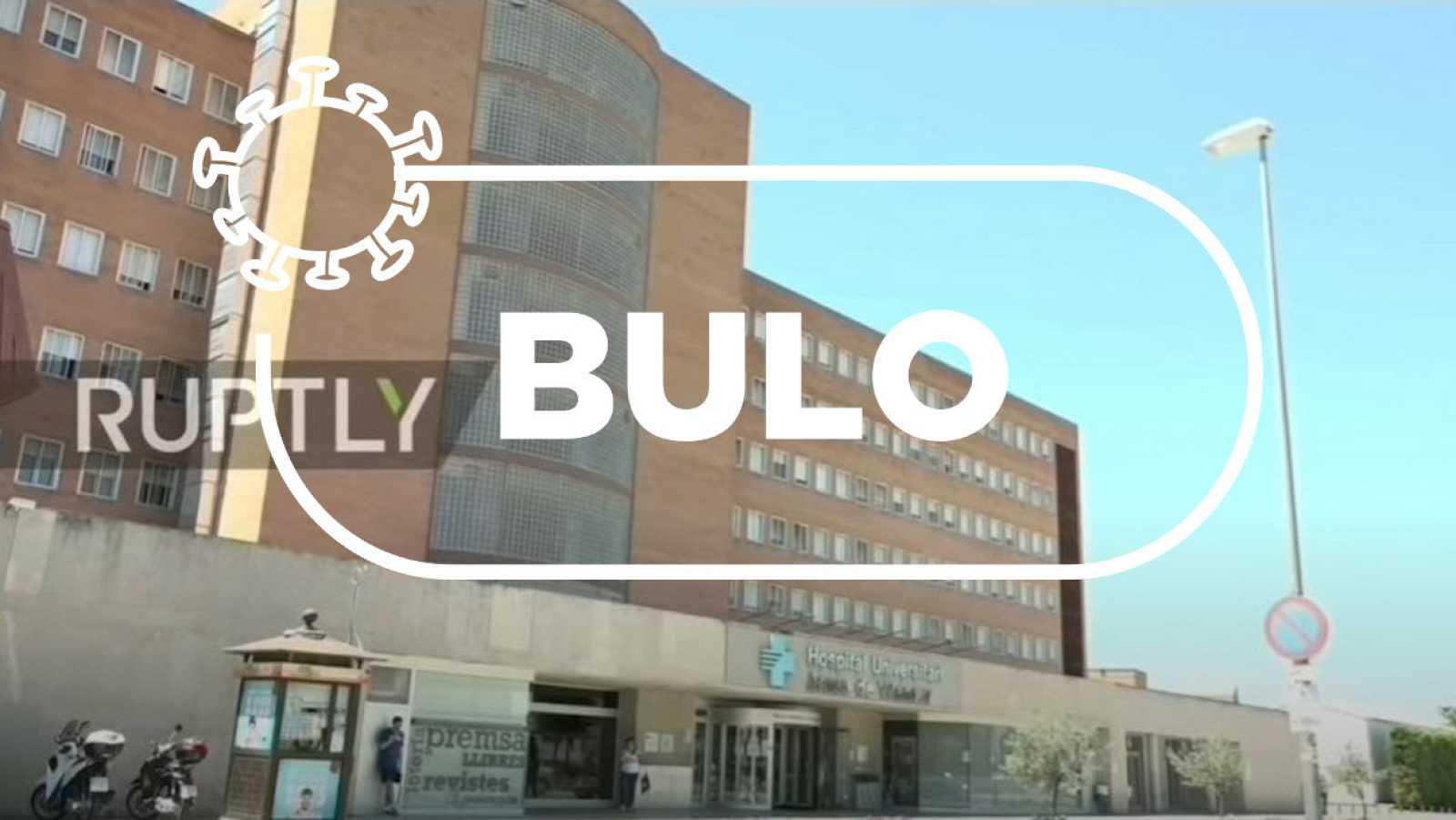 Captura del vídeo con la fachada del hospital de Lleida y la palabra bulo con el sello de Verifica RTVE.