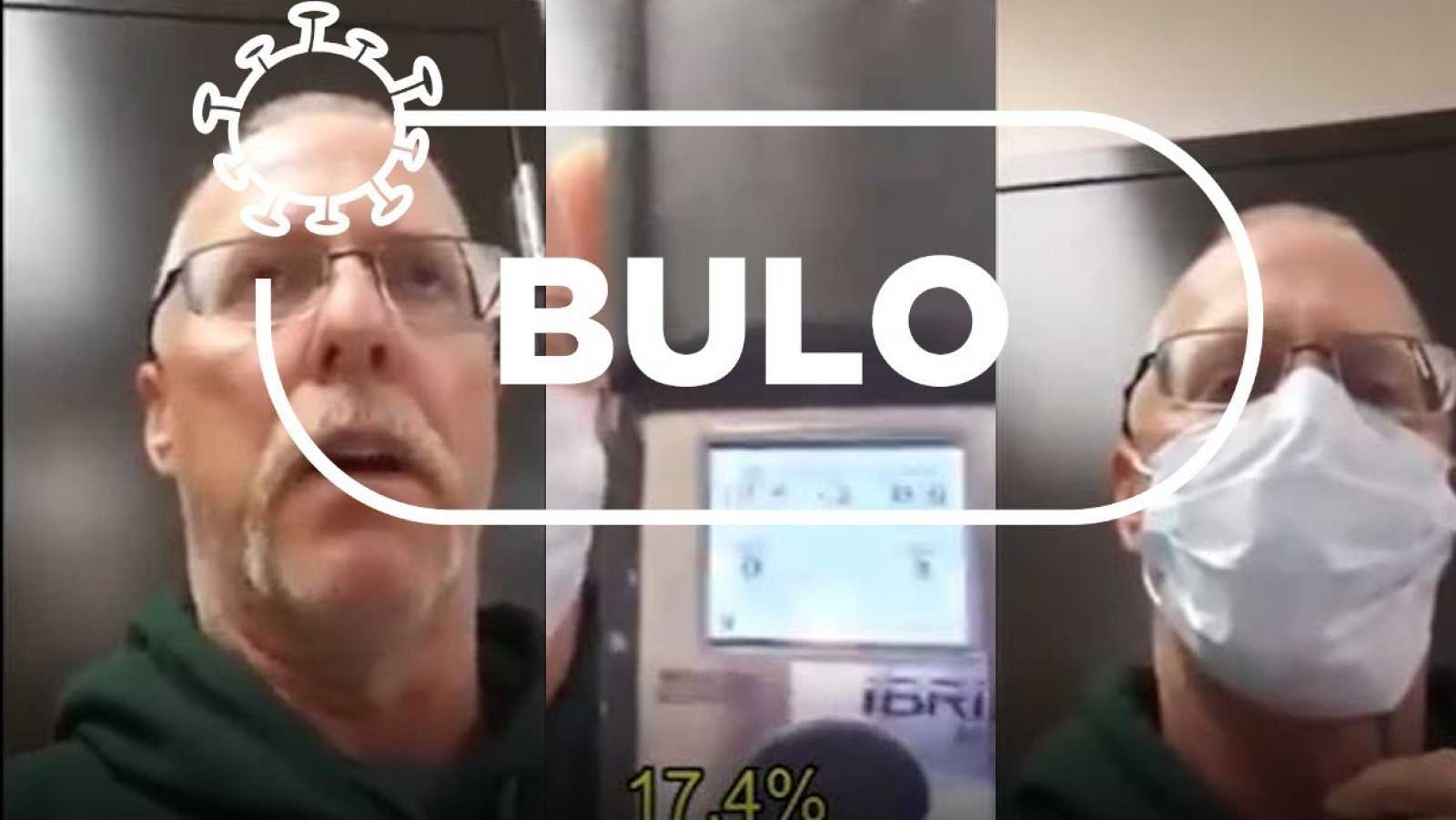 Montaje fotográfico con tres capturas del vídeo en el que un hombre asegura que las mascarillas reducen el nivel de oxígeno necesario para respirar con la palabra bulo de Verifica RTVE.