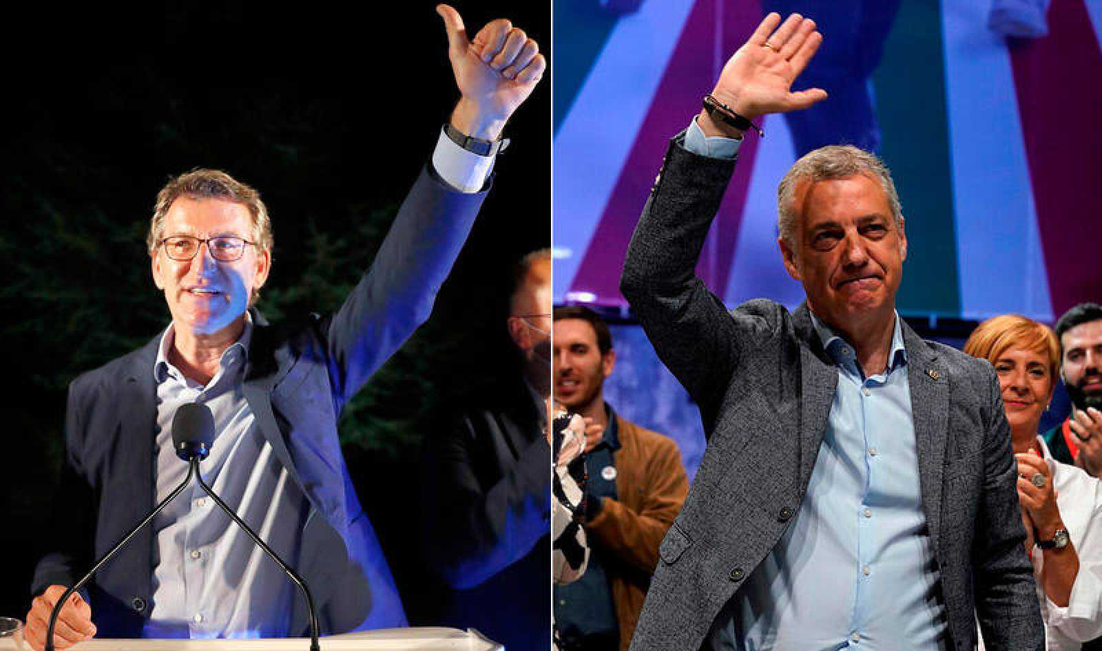 Los líderes Alberto Núñez Feijóo (PP) e Iñigo Ukullu (PNV), vencedores de las elecciones gallegas y vascas