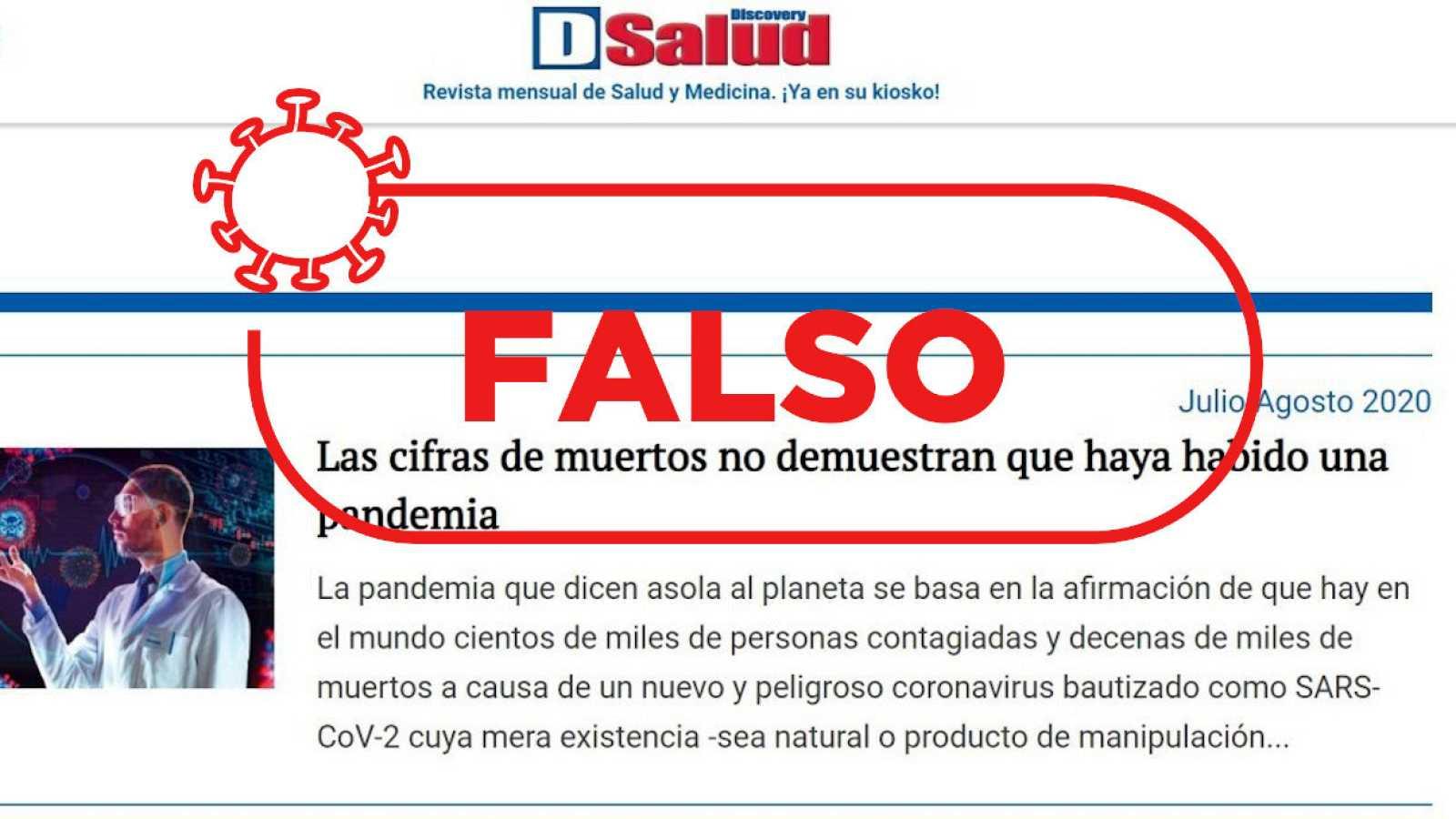 """Captura con un detalle de la revista Discovery Salud y el sello de Verifica RTVE con la palabra """"falso""""."""