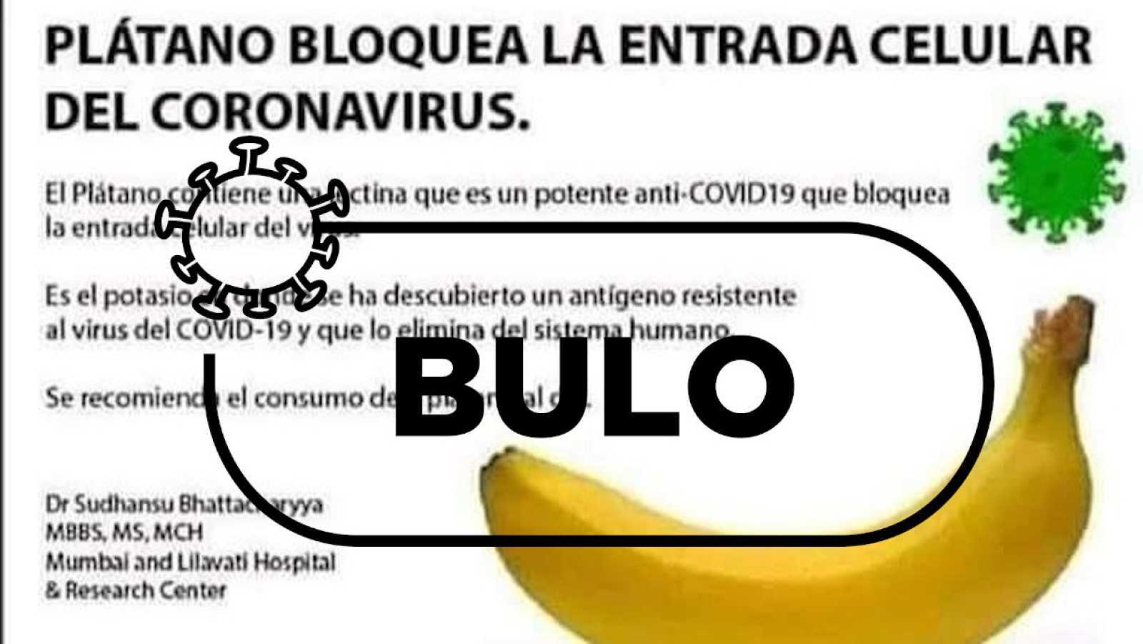 Detalle de la captura del meme con el bulo sobre el plátano y el covid con el sello de Verifica RTVE y la palabra bulo.