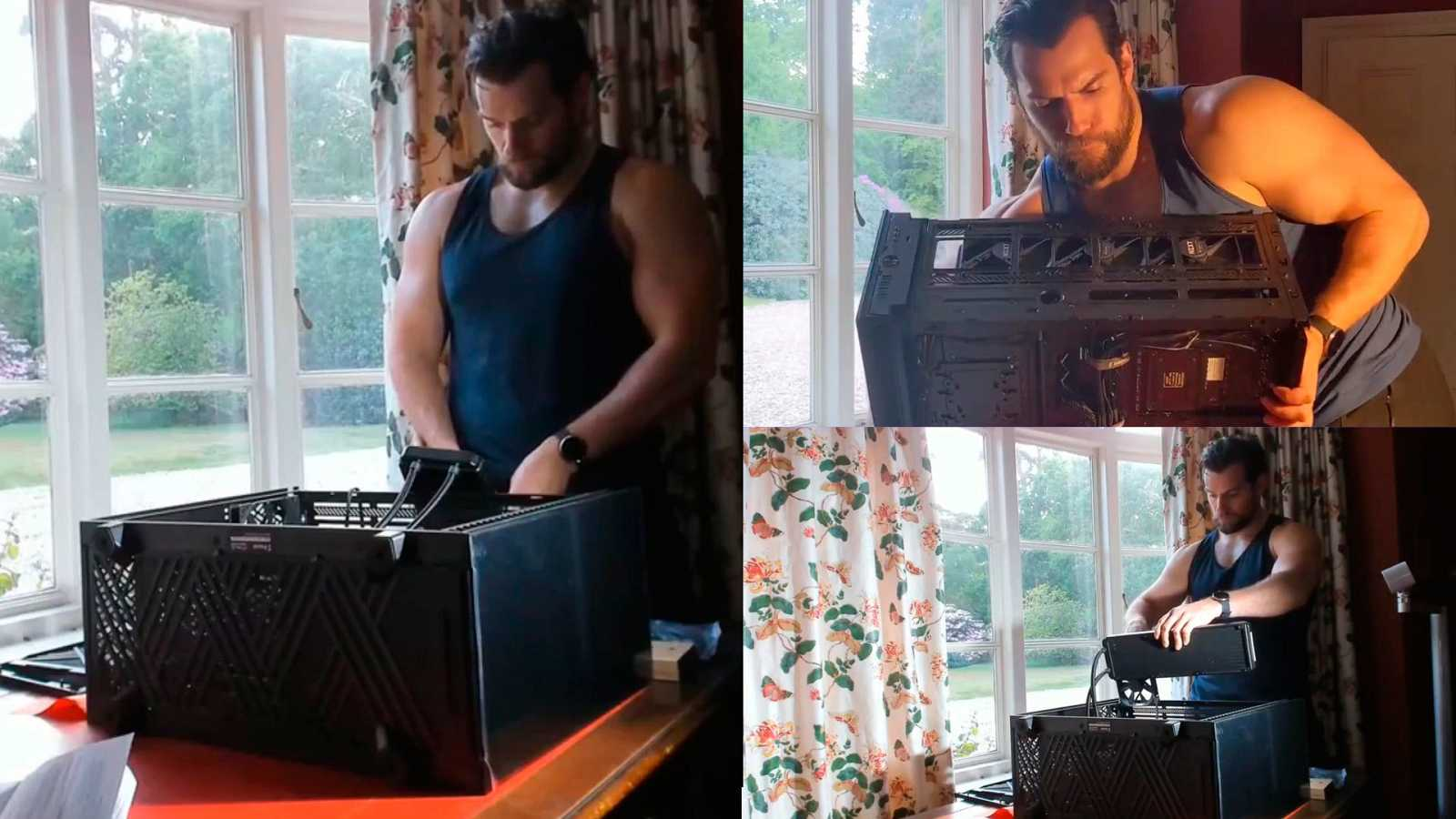 Henry Cavill montando su ordenador