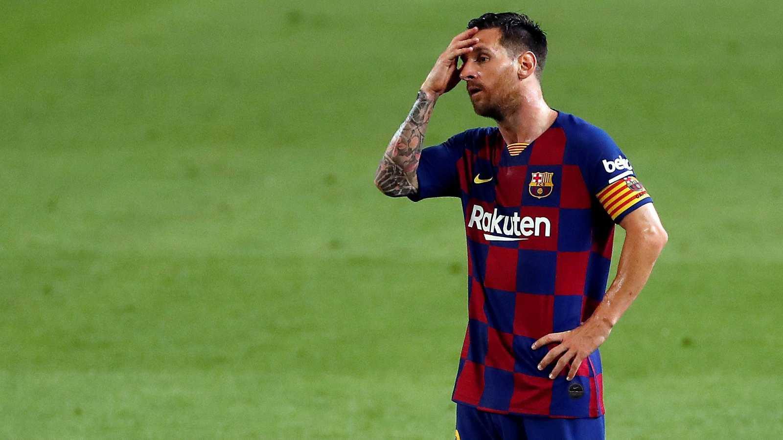 Leo Messi durante el partido frente a Osasuna en el Camp Nou.