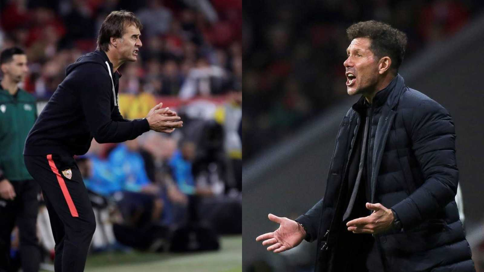 El entrenador del Sevilla, Julen Lopetegui (i) y su homónimo del Atlético de Madrid, Diego Pablo Simeone(d)
