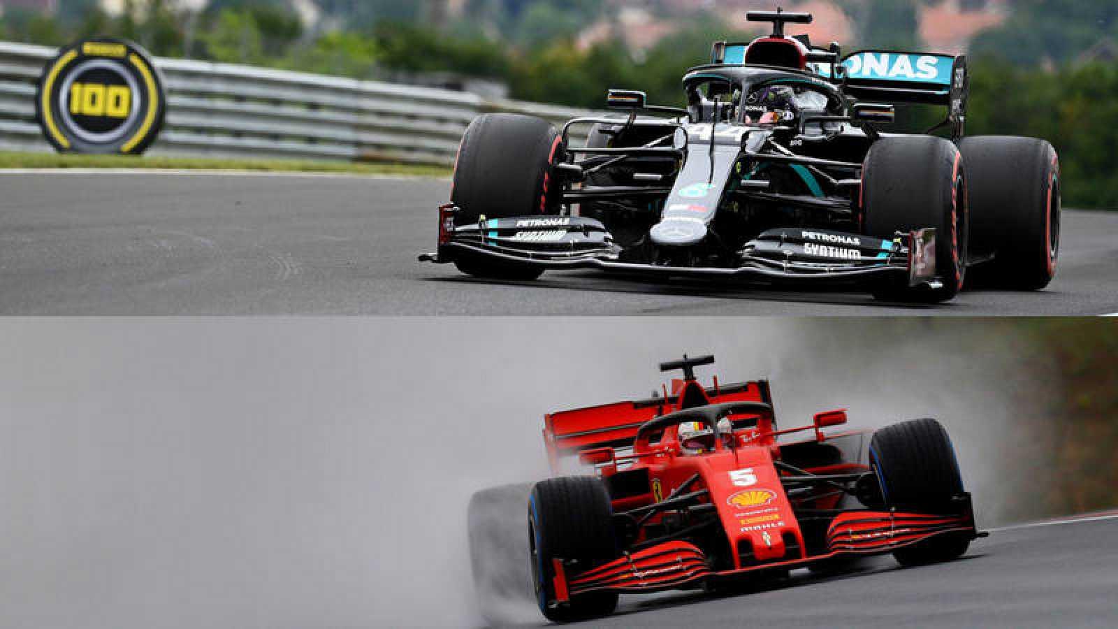 Combinación de imágenes de Hamilton (arriba) y Vettel, en los entrenamientos de este viernes