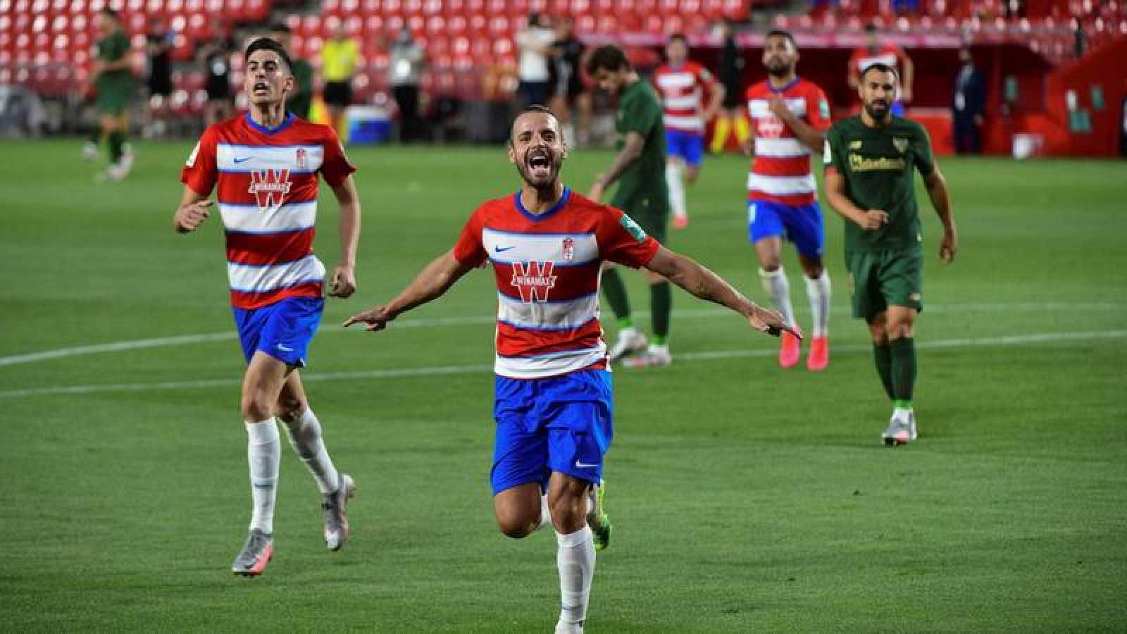 Soldado celebra el tanto marcado al Athletic Club.