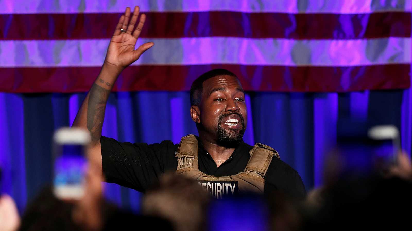 El rapero Kanye West en su acto electoral de este domingo.