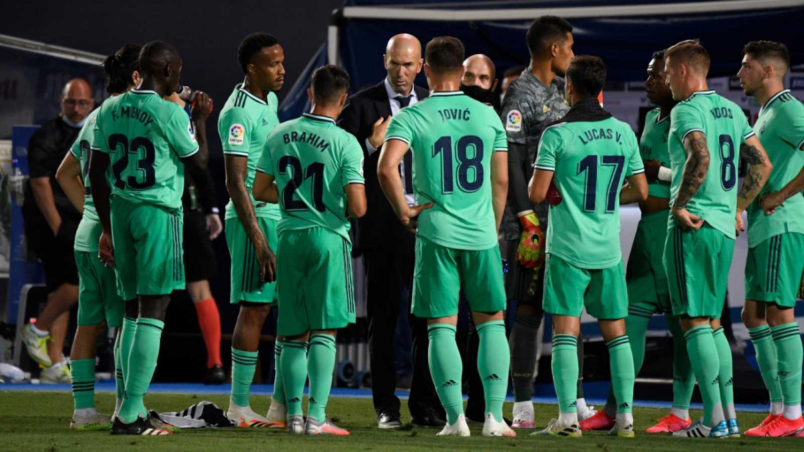 Imagen: El Real Madrid, en el úlitmo partido de Liga contra el Leganés