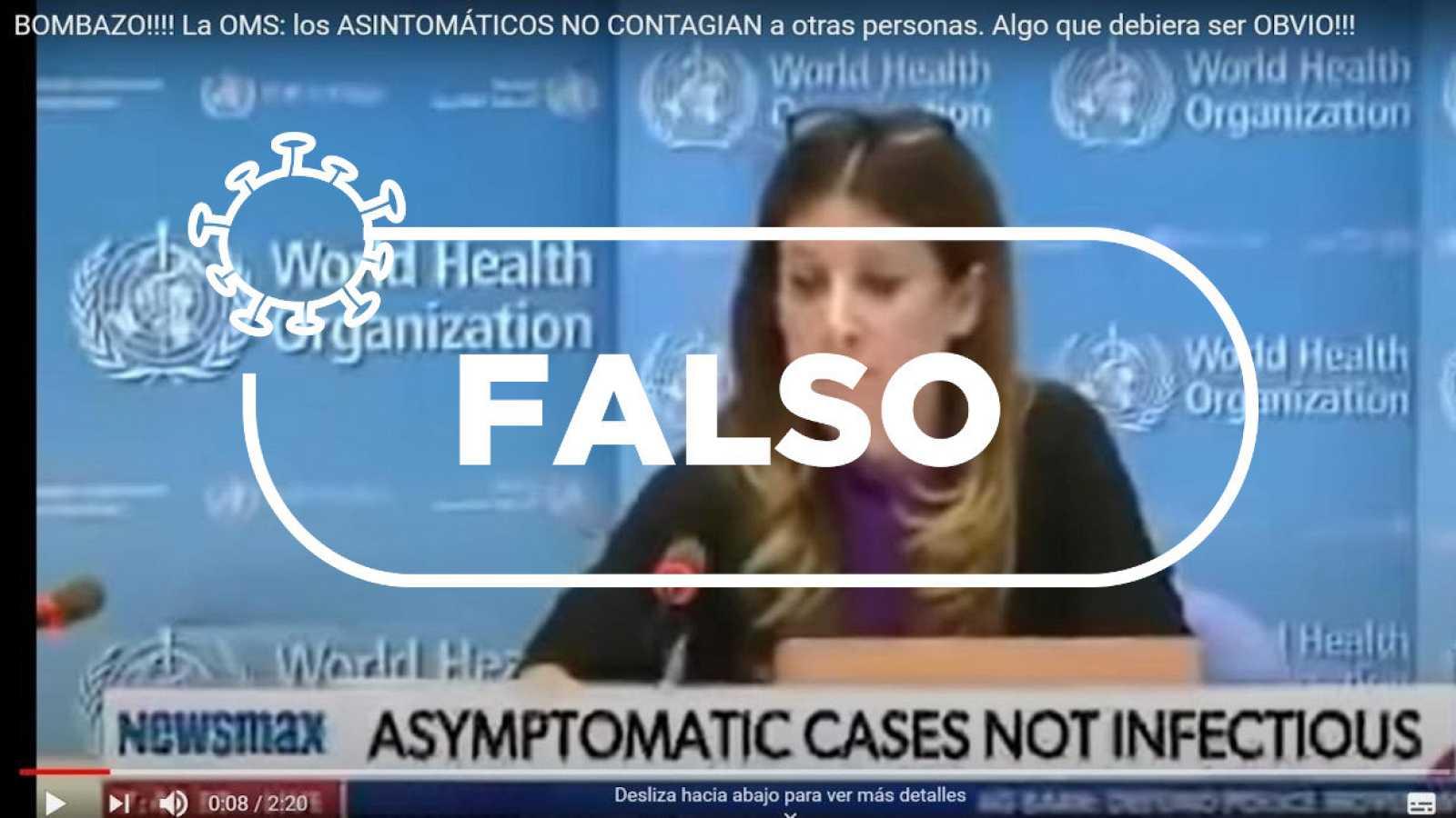 """Detalle de la captura del vídeo con la declaración de la responsable de la OMS y el sello de """"Falso"""" de Verifica RTVE."""
