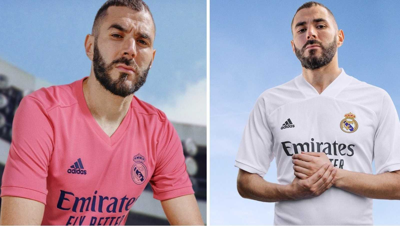 Imagen: Karim Benzema posa con las nuevas equipaciones del Real Madrid