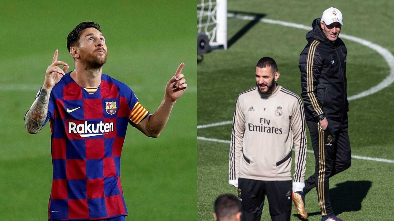 El delantero del FC Barcelona, Leo Messi (i) y el entrenador del Real Madrid (derecha-atrás) con el ariete Karim Benzema (derecha-abajo)