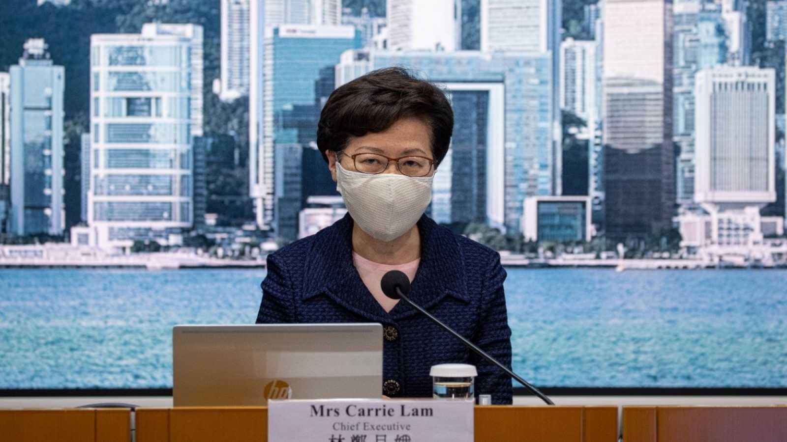 La líder del Ejecutivo de Hong Kong, Carrie Lam, durante una comparecencia