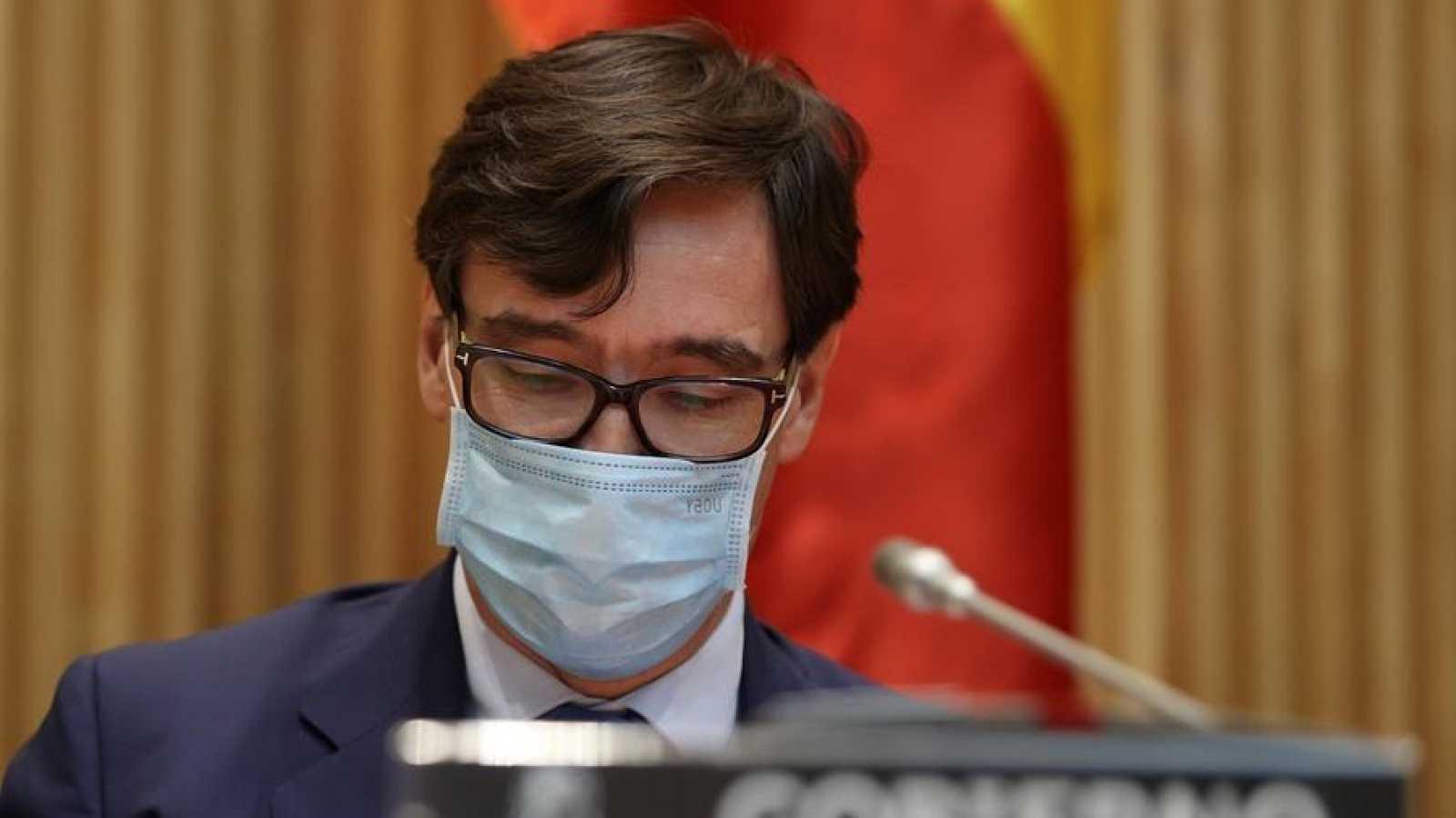 El ministro de Sanidad, Salvador Illa, durante una comparecencia en la Comisión de Sanidad del Congreso