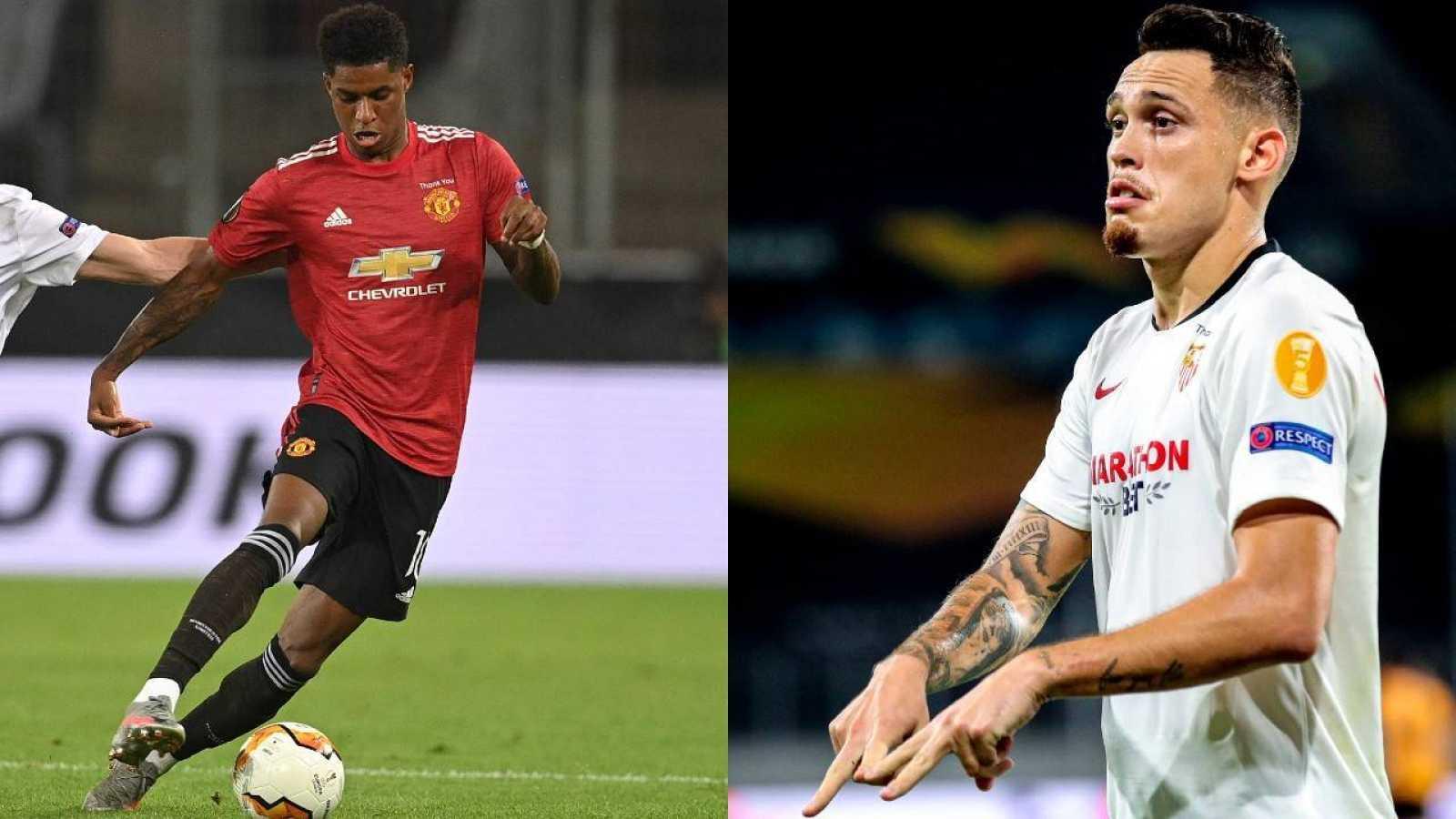 El jugador del Manchester United, Marcus Rashford (i) y el delantero del Sevilla FC, Lucas Ocampos (d)
