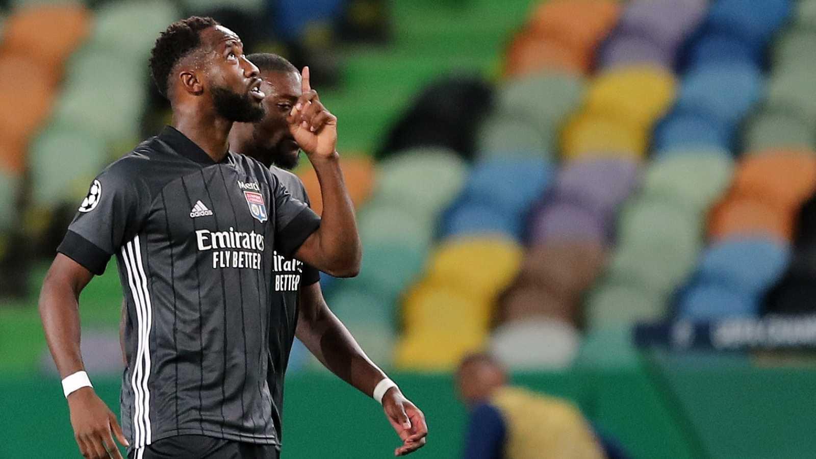 Moussa Dembélé celebra su doblete ante el Manchester City en los cuartos de Champions League