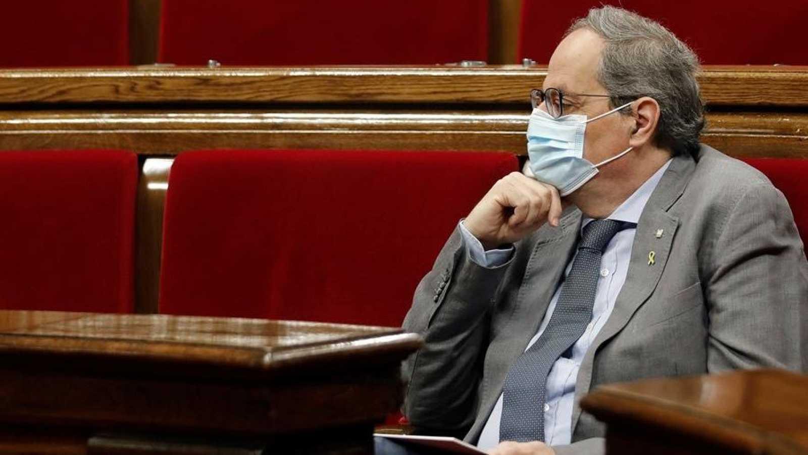 El presidente de la Generalitat, Quim Torra, durante una sesión de control
