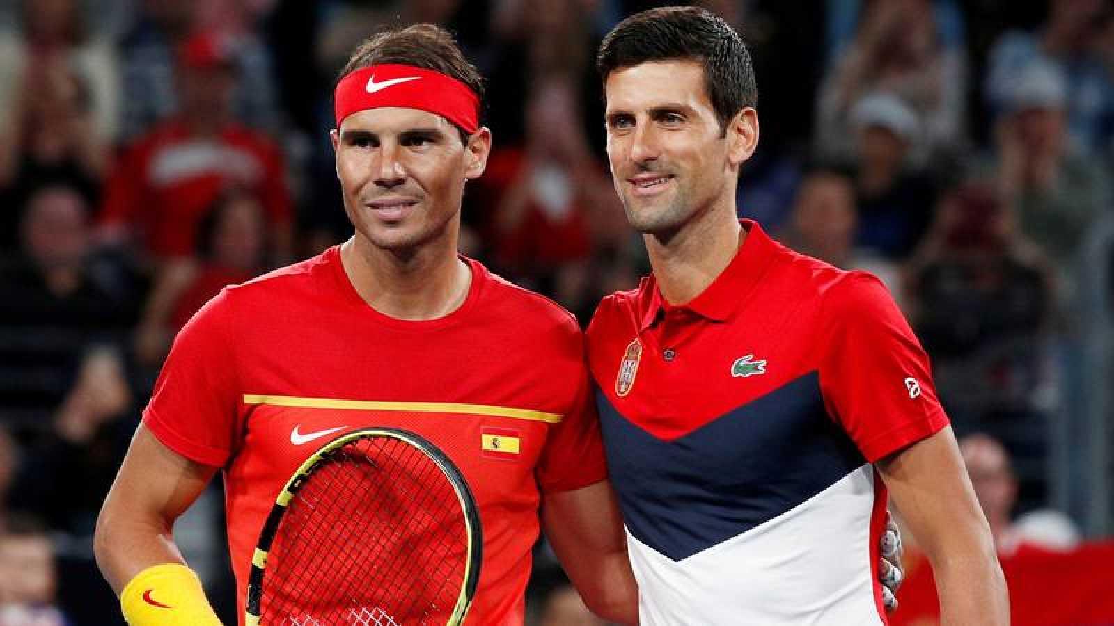 Rafa Nadal y Novak Djokovic, en un partido de la Copa ATP.