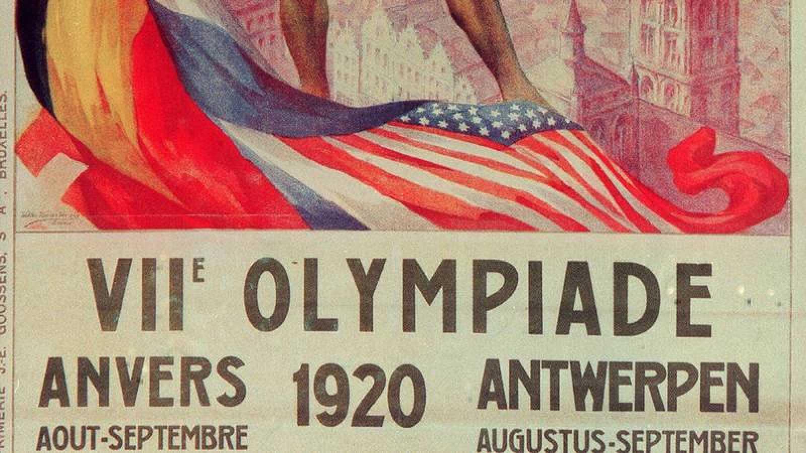 Extracto del cartel oficial de los Juegos Olímpicos de Amberes en 1920.
