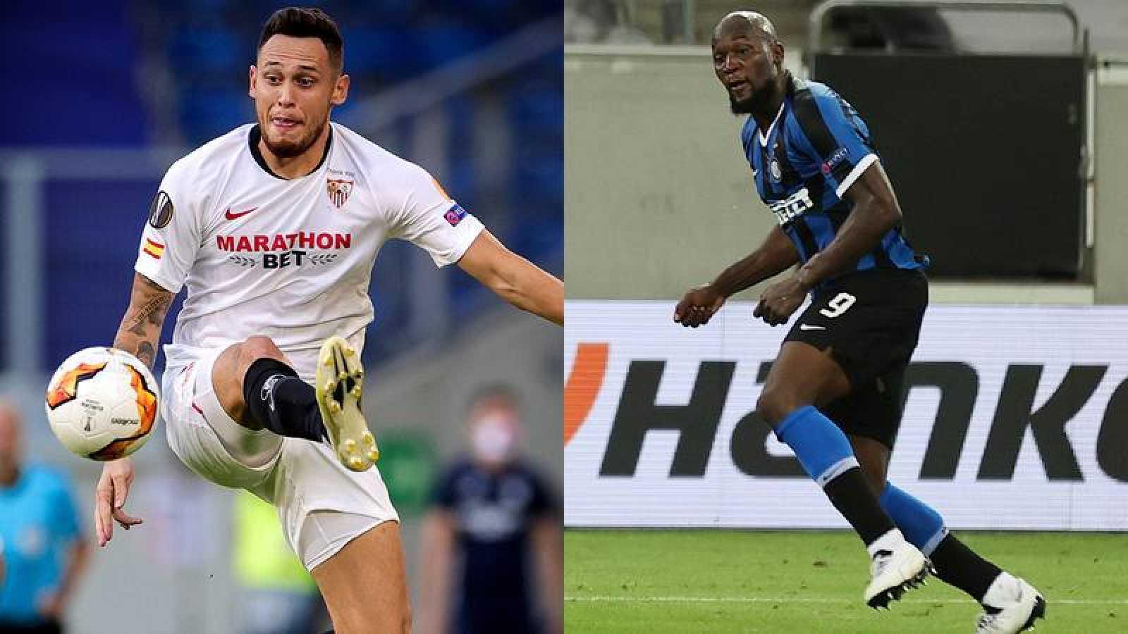 Lucas Ocampos (i), del Sevilla, frente a Romero Lukaku (d), de Inter.