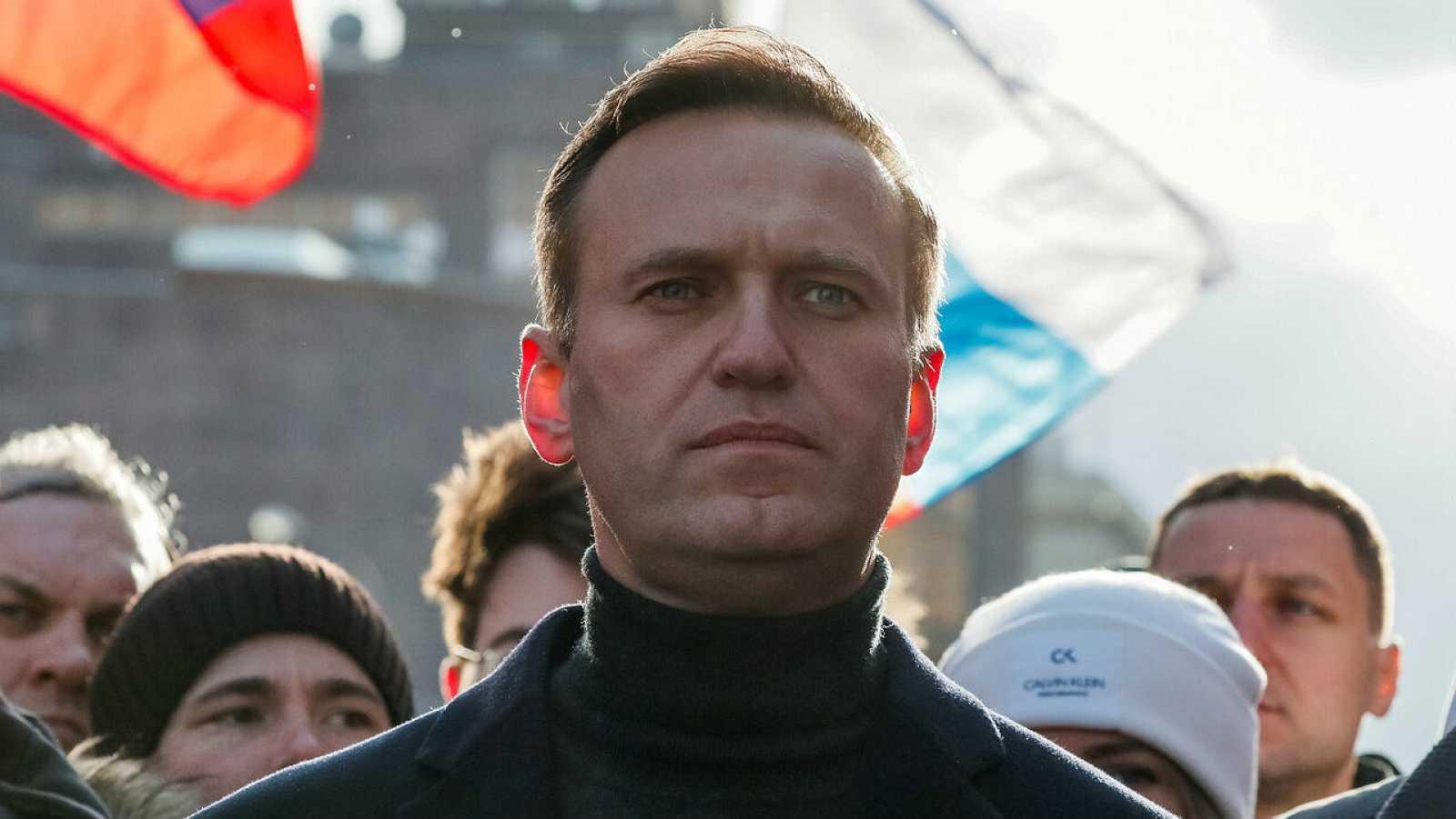 El político opositor ruso Alexei Navalny participa en una manifestación para conmemorar el quinto aniversario del asesinato del político opositor Boris Nemtsov.