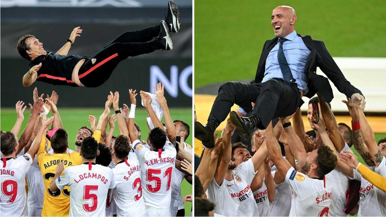 Imagen: Lopetegui (i) y Monchi (d) son manteados por los jugadores del Sevilla