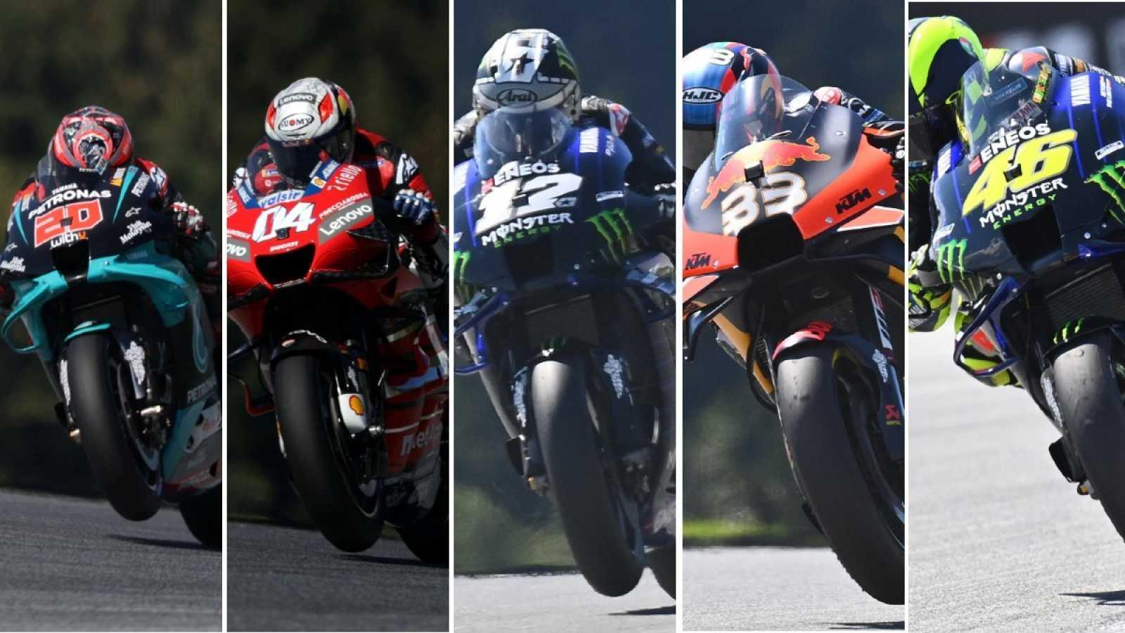 Imagen: De izquierda a derecha: Quartararo, Dovizioso, Viñales, Binder y Rossi