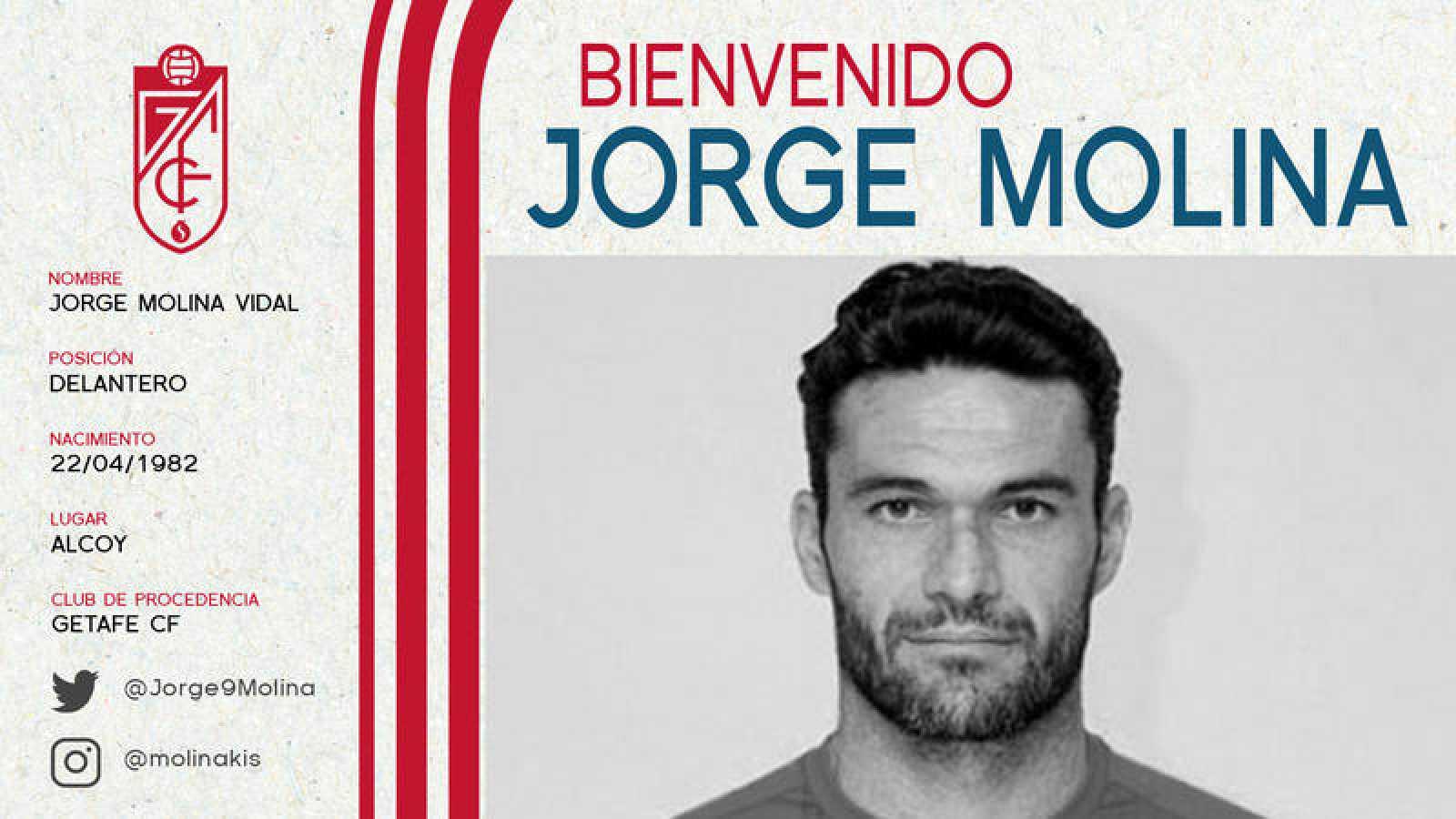 Cartel anunciador del fichaje de Jorge Molina por el Granada en redes sociales.