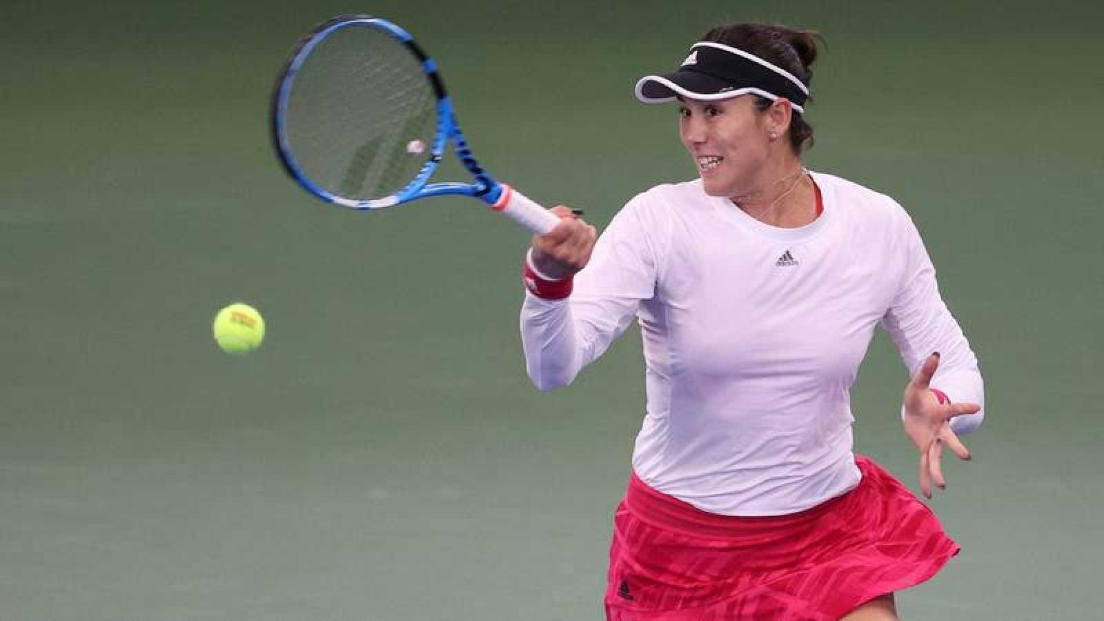 La tenista española Garbiñe Muguruza durante su partido del US Open ante la japonesa Nao Hibino.