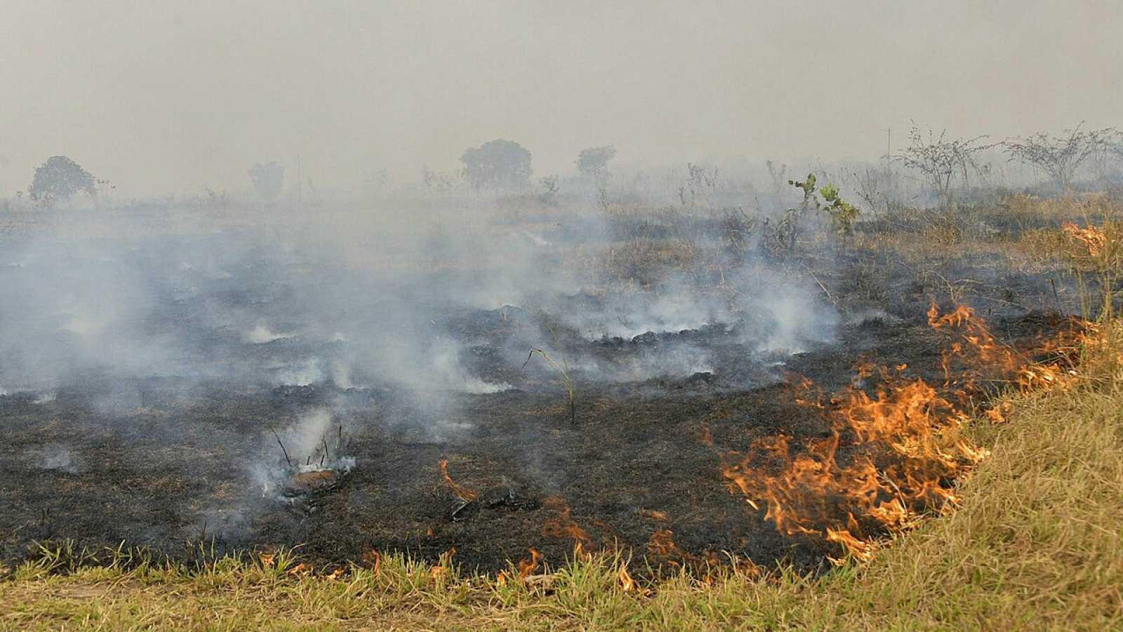 Incendio en agosto de 2020 en las cercanías de Cuiabá, estado de Mato Grosso (Brasil).