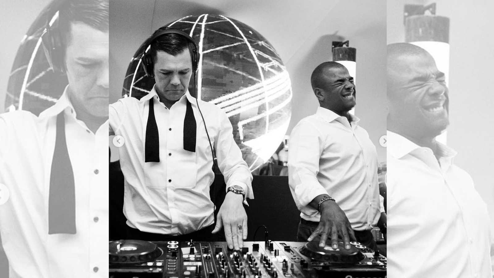"""Fonsi Nieto homenajea al DJ Erick Morillo con esta imagen tras conocer la muerte de éste. La foto fue tomada durante la celebración de su boda con Marta Castro donde el músico autor de """"I like to move it"""" le dio una sorpresa"""