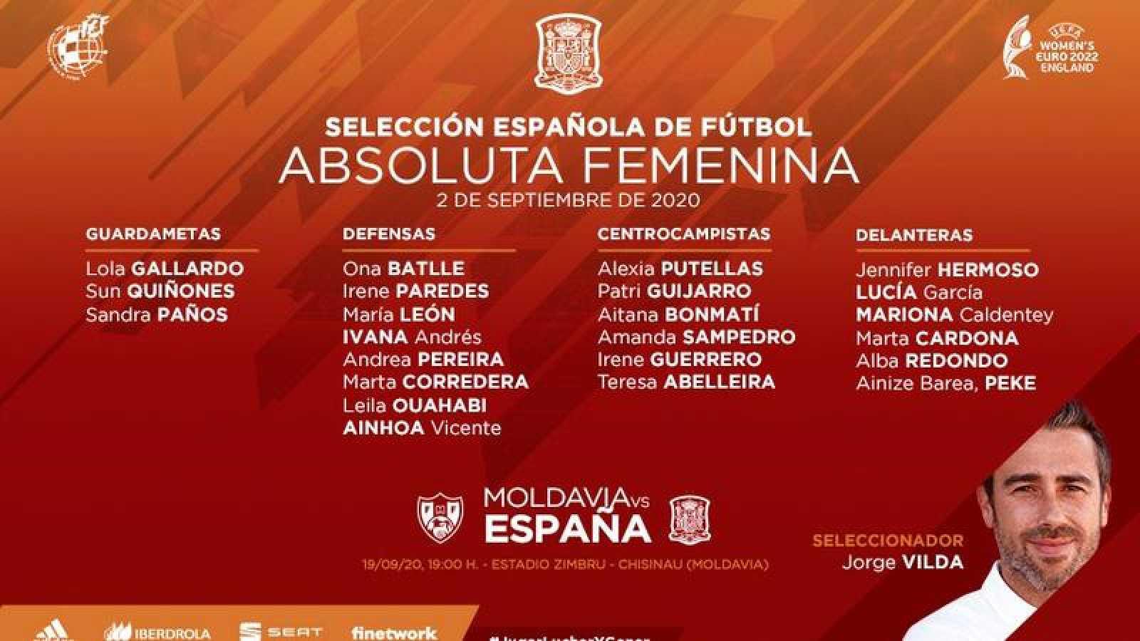 Lista de convocadas en la selección española femenina de fútbol ante Moldavia.
