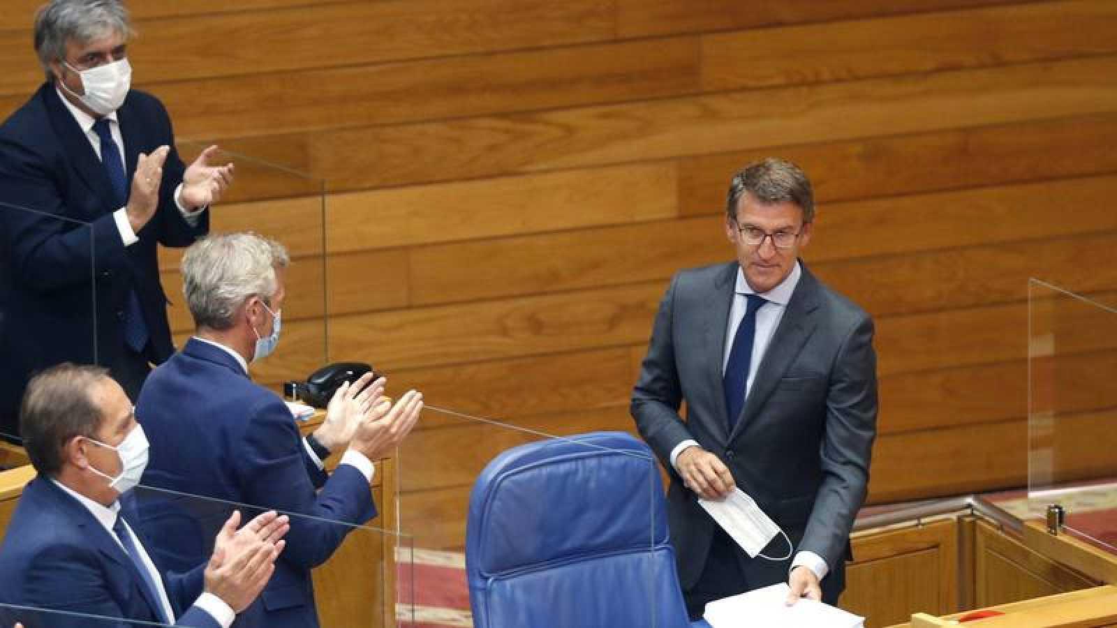 Feijóo, tras su intervención en el pleno de investidura de la XI Legislatura del Parlamento Gallego