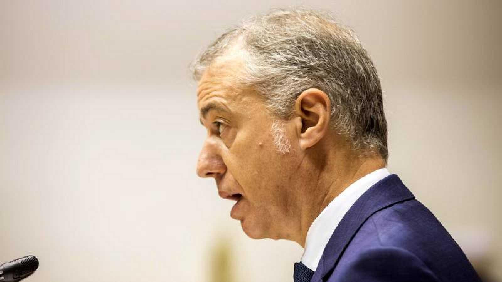 El lehendakari Íñigo Urkullu, durante su discurso en el debate de investidura