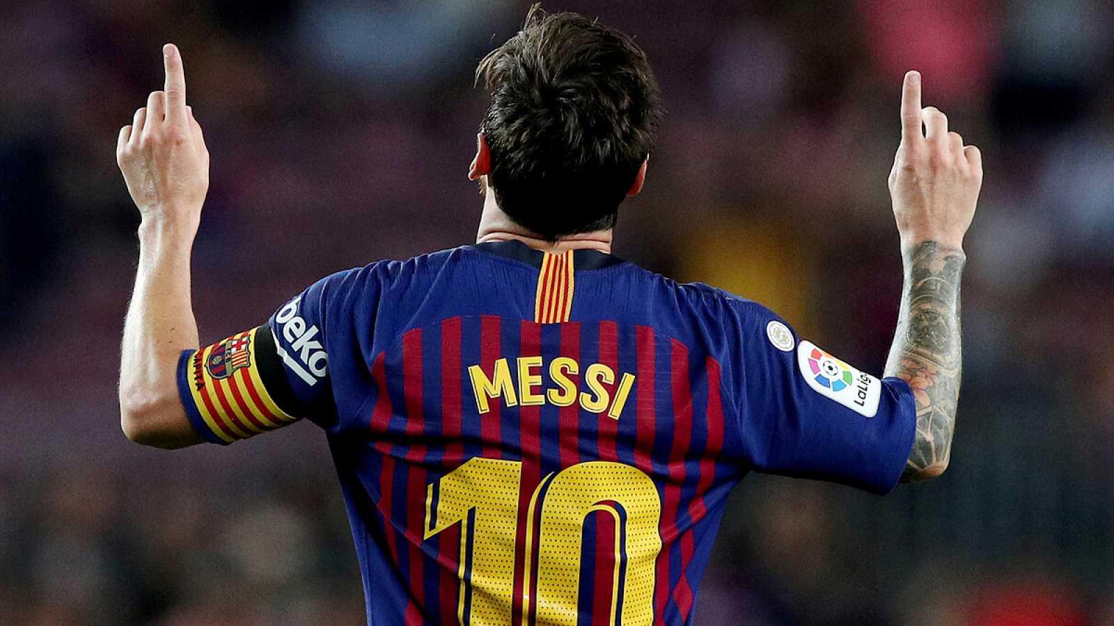 Imagen: Leo Messi celebra un gol con la camiseta del FC Barcelona