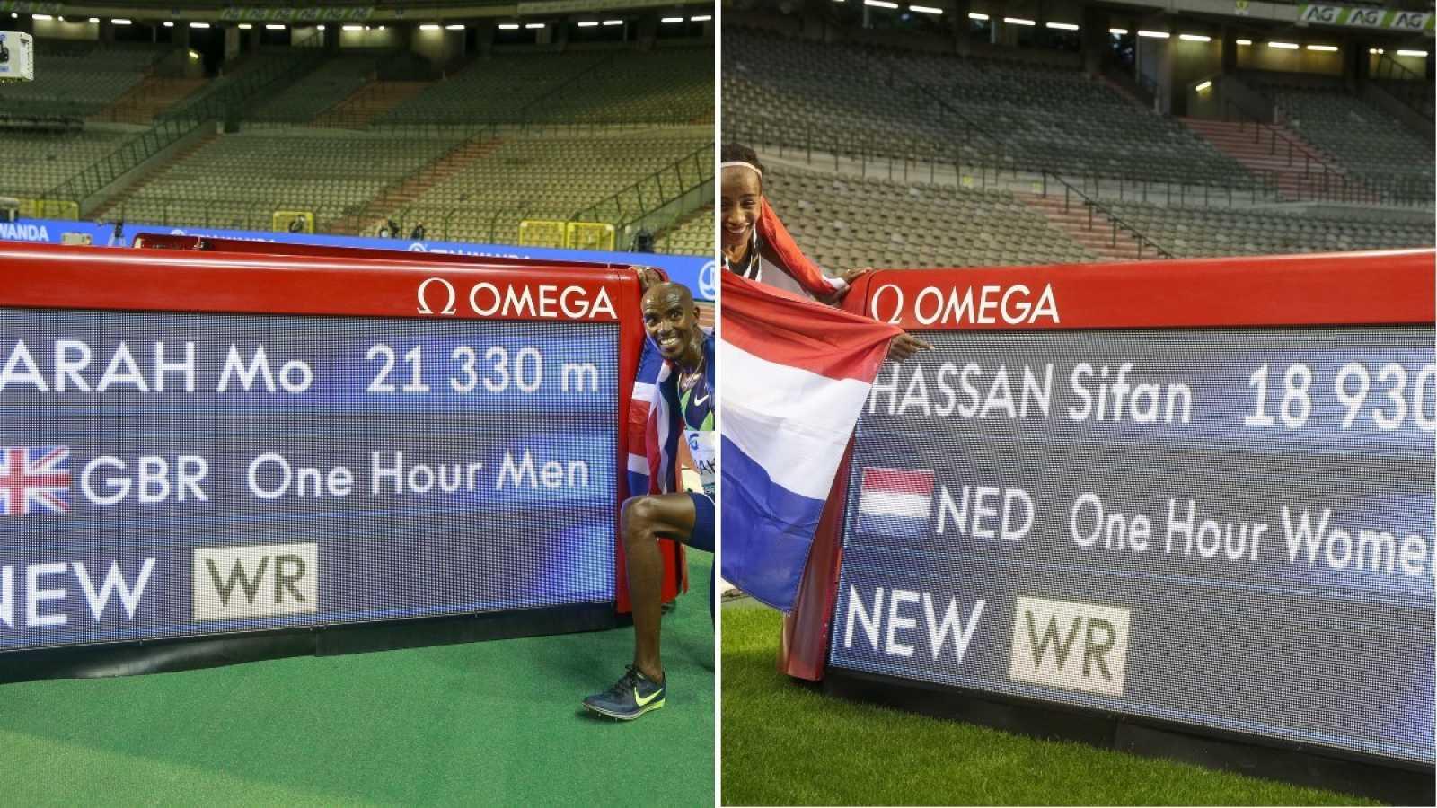 Imagen: Mo Farah (i) y Sifan Hassan (d) posan junto a sus récords mundiales