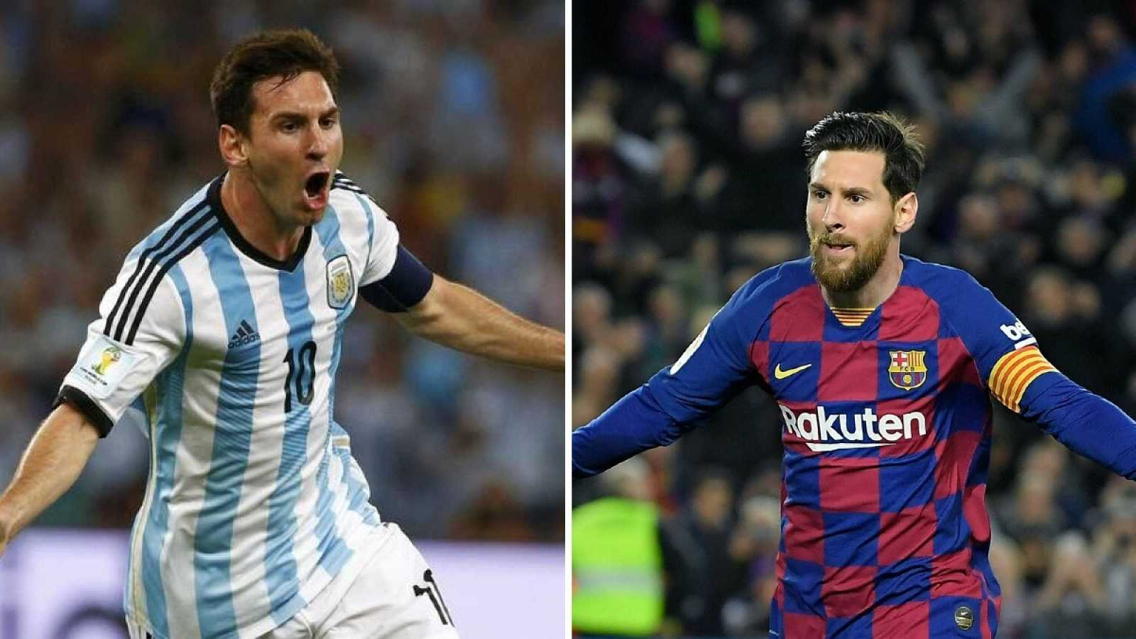 Imagen: Messi con la camiseta de Argentina (i) y con la del FC Barcelona (d)