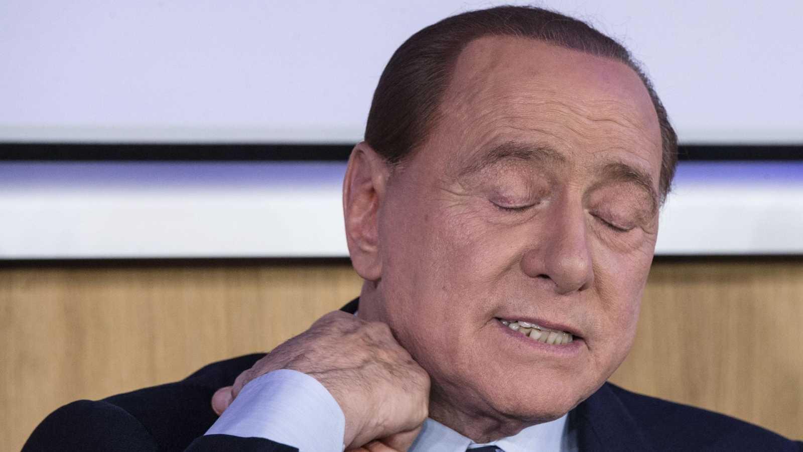 Berlusconi,  durante la presentación del libro 'Madri' (Madres) de Myrta Merlino en Roma, poco antes de anunciar su positivo por Covid