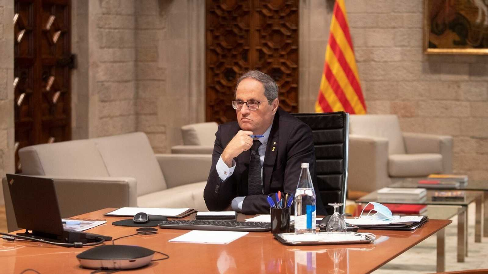 El presidente de la Generalitat, Quim Torra, durante una reunión telemática